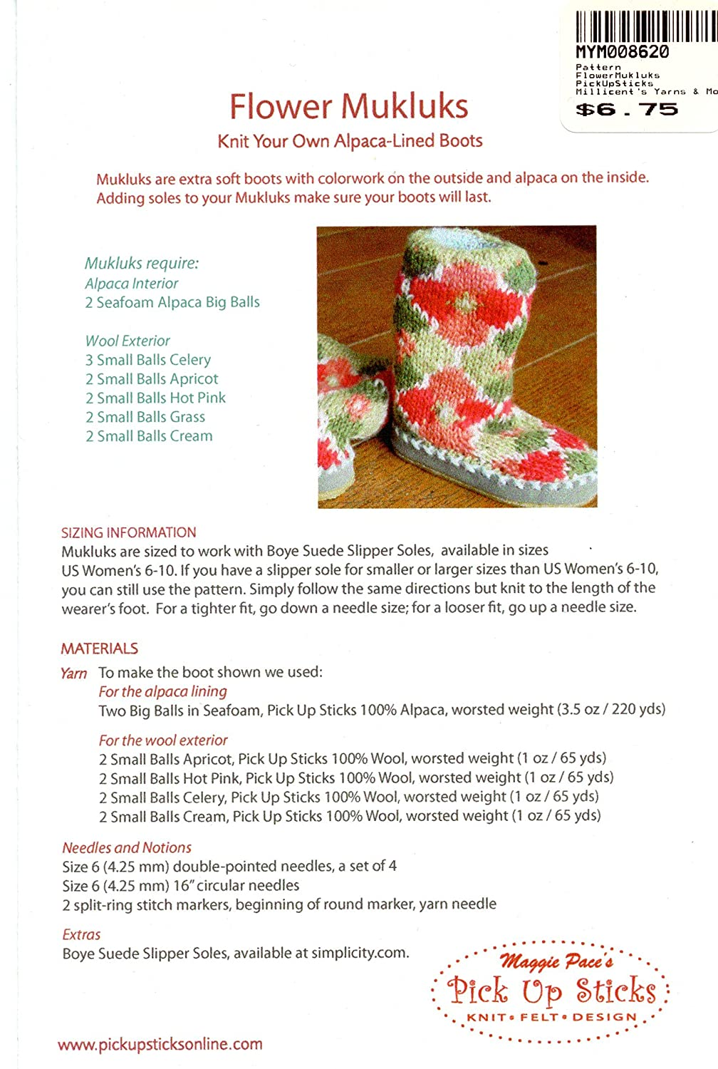 Amazon.com: Flower Mukluks: Knit Your Own Alpaca-Lined Boots - Pick ...