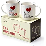 Janazala Mr Right and Mrs Always Right Coffee Mugs For Couples, His and Hers, Anniversary Gifts, Friends Engagement, Wedding, Married and Parents Gift, 13 oz Couple Cups
