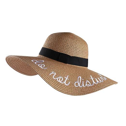6e2f0b1e9c5 Aerusi Embroidery Large Floppy Wide Brim Straw Foldable Beach Sun Hat Caps  (Tan)