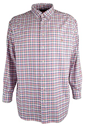 c8dad4b8 Polo Ralph Lauren Men's Big and Tall Long Sleeves Classic Fit Oxford  Buttondown Shirt (2XLT, PinkRedMulti) at Amazon Men's Clothing store: