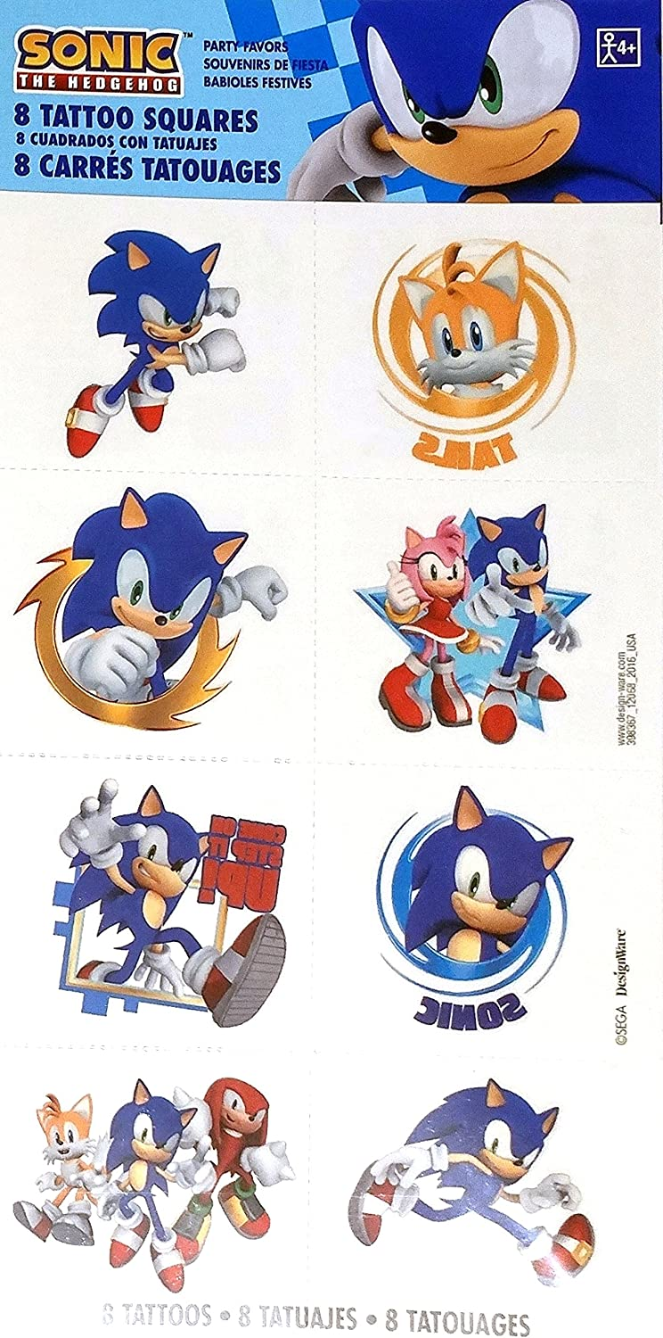 Sonic The Hedgehog Temporary Tattoos Birthday Party Favours 8 Pack Amazon Ca Sports Outdoors