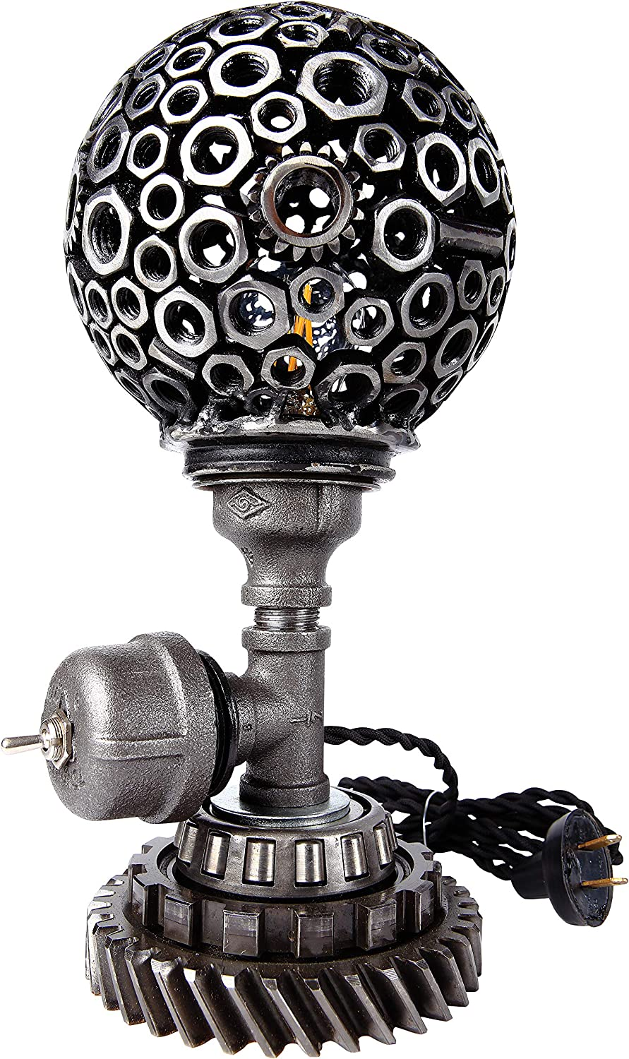 Savage Metal - Industrial Steampunk Lamp - Sphere Rustic Vintage Antique Farmhouse Aesthetic Retro Home Decor - Ideal for Bedroom, Living Room, Office, Bed Side Table, Nightstand - Made in America