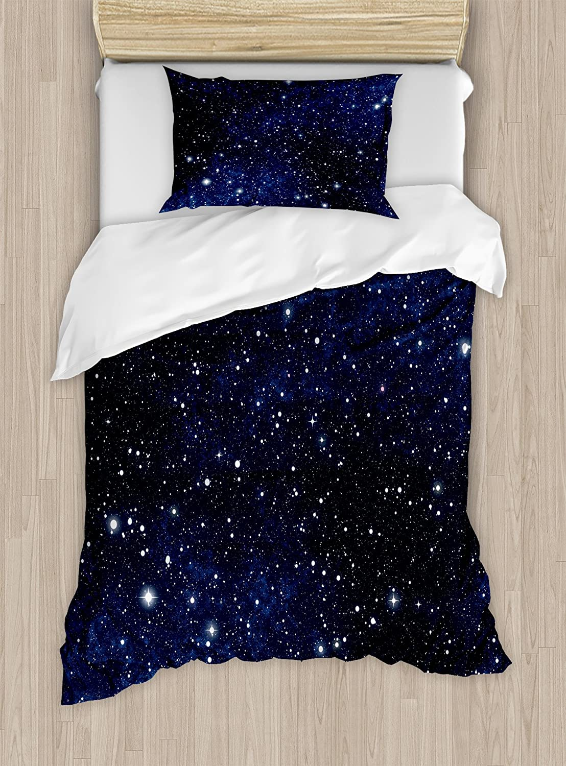 Ambesonne Night Duvet Cover Set, Composition with Dots Night Sky Theme Abstract Style Arrangement Cosmos Concept, Decorative 2 Piece Bedding Set with 1 Pillow Sham, Twin Size, Dark Blue