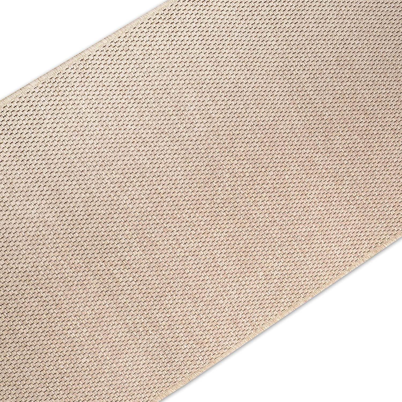 Casa pura Teppich Läufer in Sisal Optik   Flachgewebe mit Tiger-Eye-Struktur   Ausgezeichnet mit Gut-Siegel   Kombinierbar mit Stufenmatten (Beige, 100x400 cm)