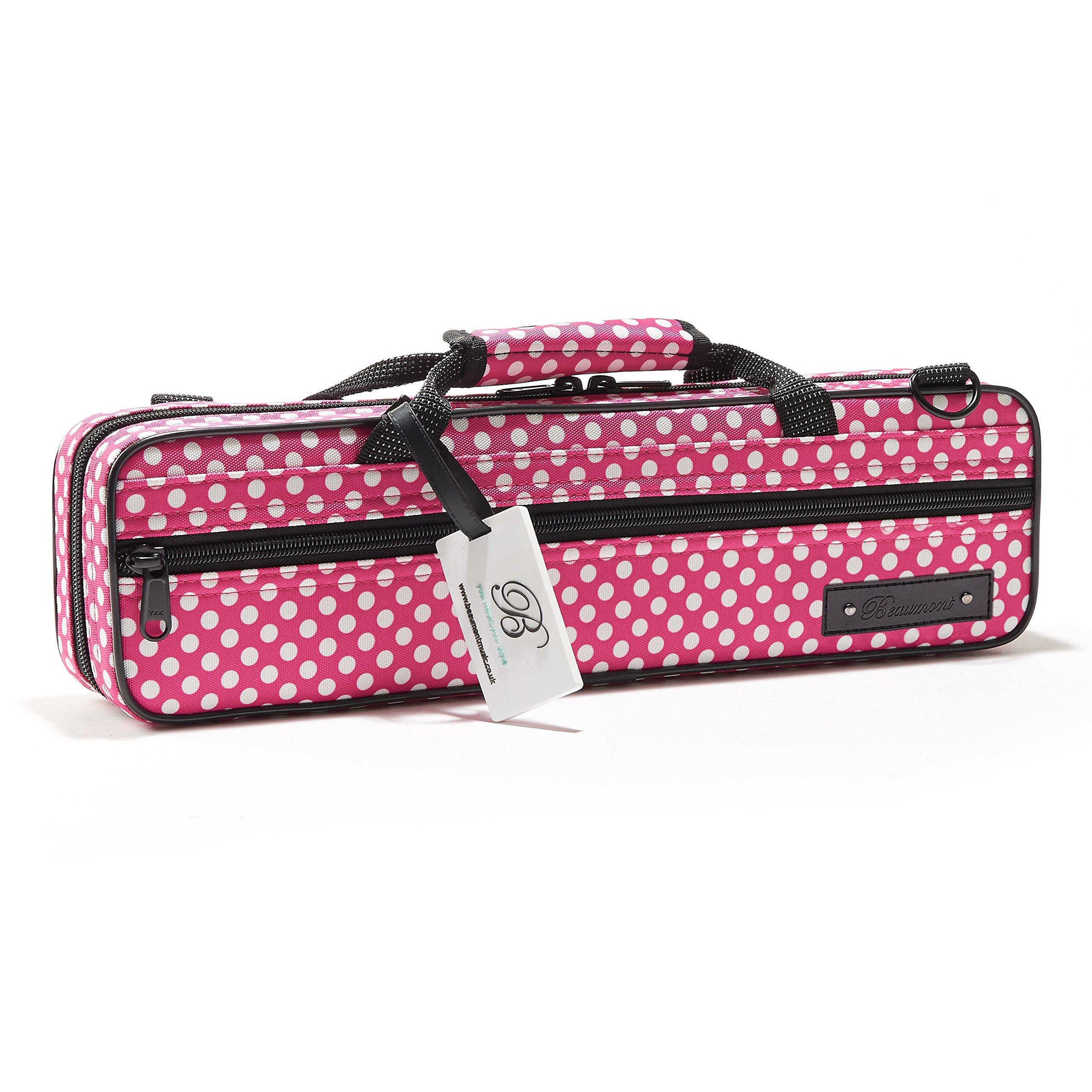 Flute Case - Beaumont C-Foot Flute Cover - Lightweight Canvas - Pink Polka Dot Design