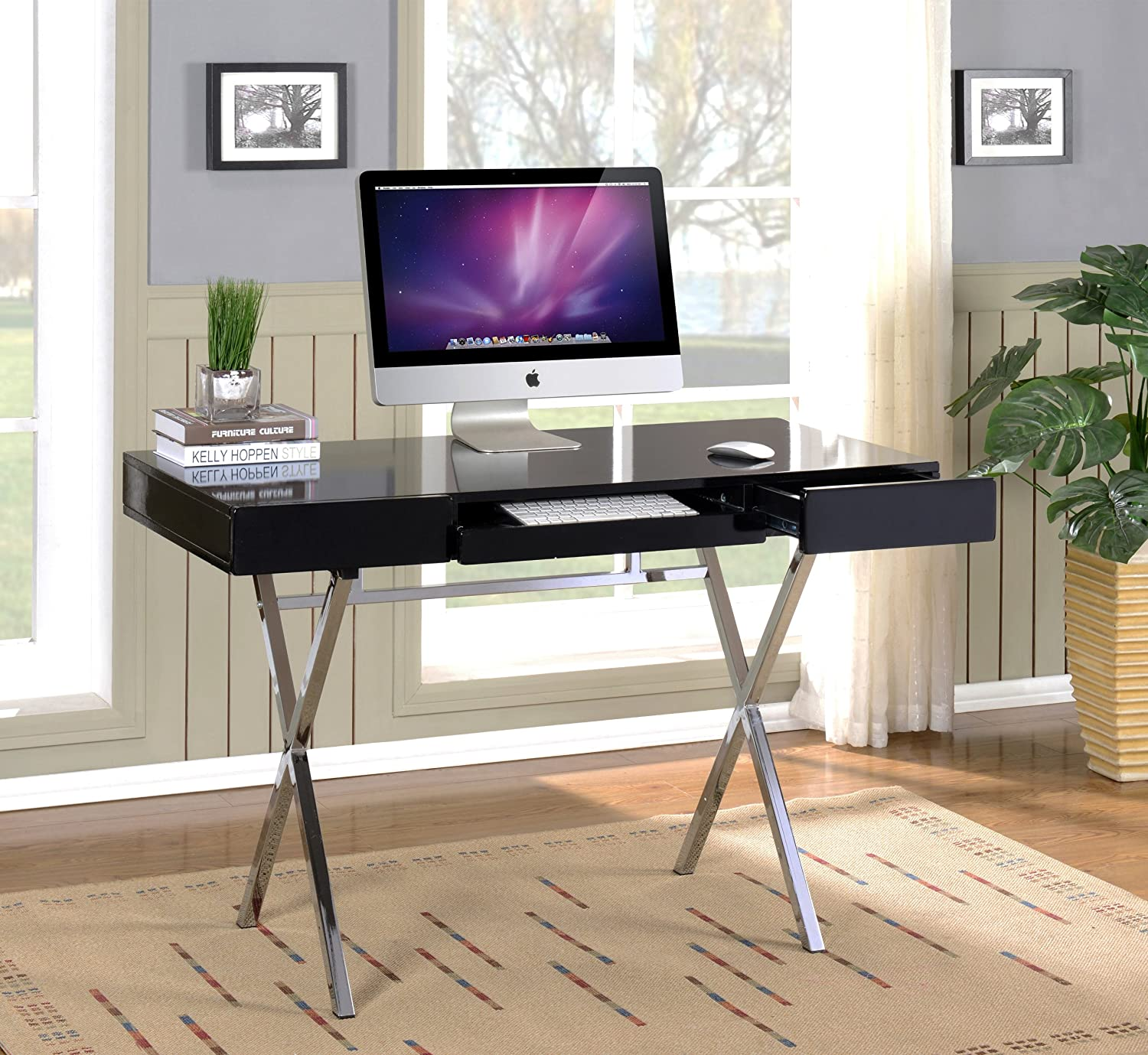 Elegant Amazon.com: Kings Brand Furniture Contemporary Style Home U0026 Office Desk,  Black/Chrome: Kitchen U0026 Dining