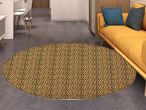 Amazon.com: Leopard Print Round Rugs for Bedroom Spotty ...
