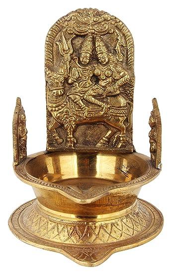 Buy Poompuhar Brass Pradosha Deepam 18 Cm X 3 Cm X 15 Cm Yellow