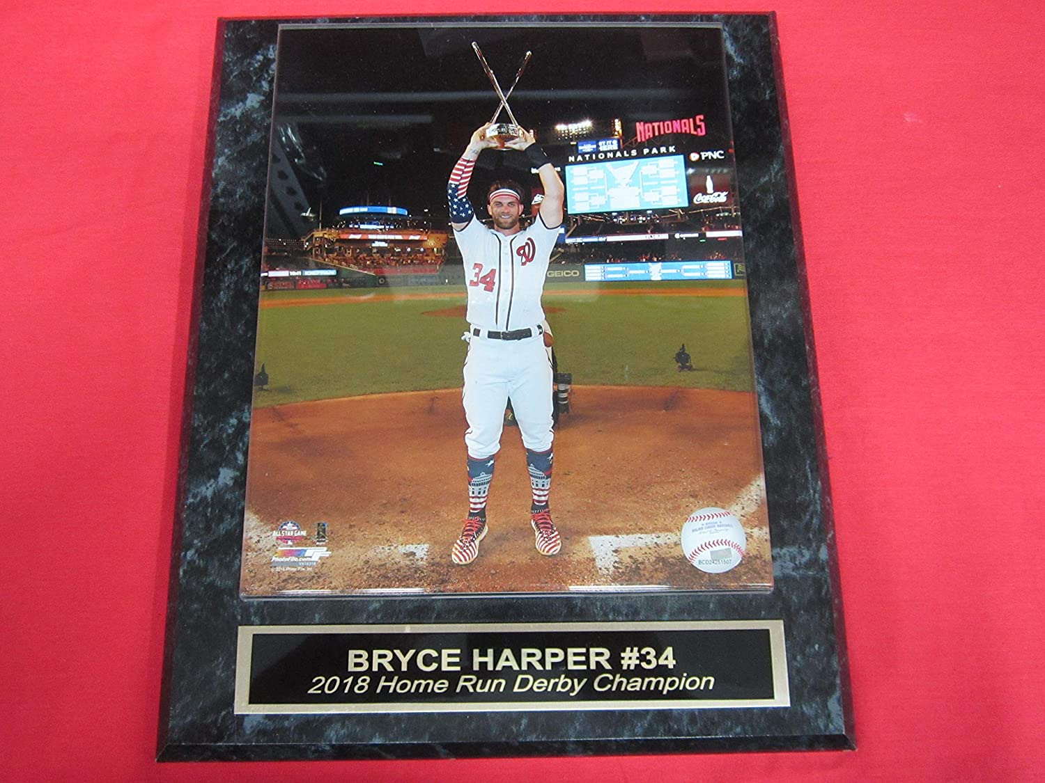 Nationals Bryce Harper Collector Plaque #4 w/8x10 Color 2018 Home Run Derby Photo