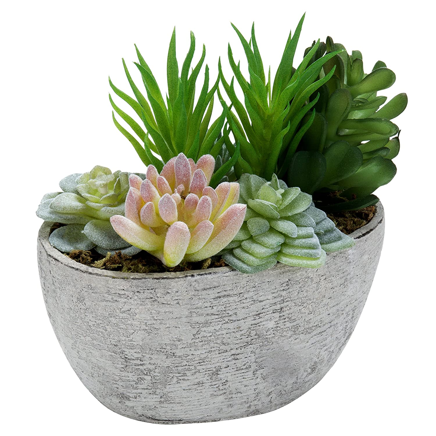 MyGift Tabletop Artificial Succulent Arrangement in Eco-Friendly Pulp Planter Pot