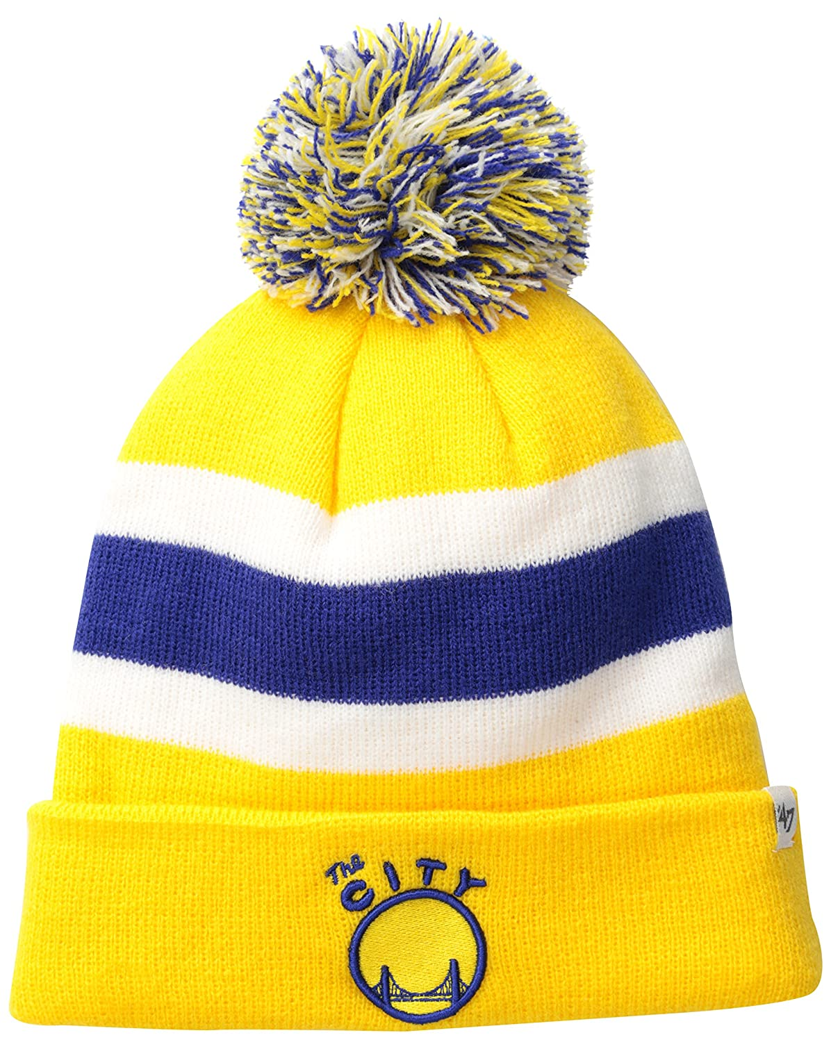 competitive price ba4eb 4a5a3 Amazon.com   NBA Golden State Warriors  47 Brand Breakaway Cuff Knit Hat  with Pom, One Size, Yellow Gold   Sports   Outdoors