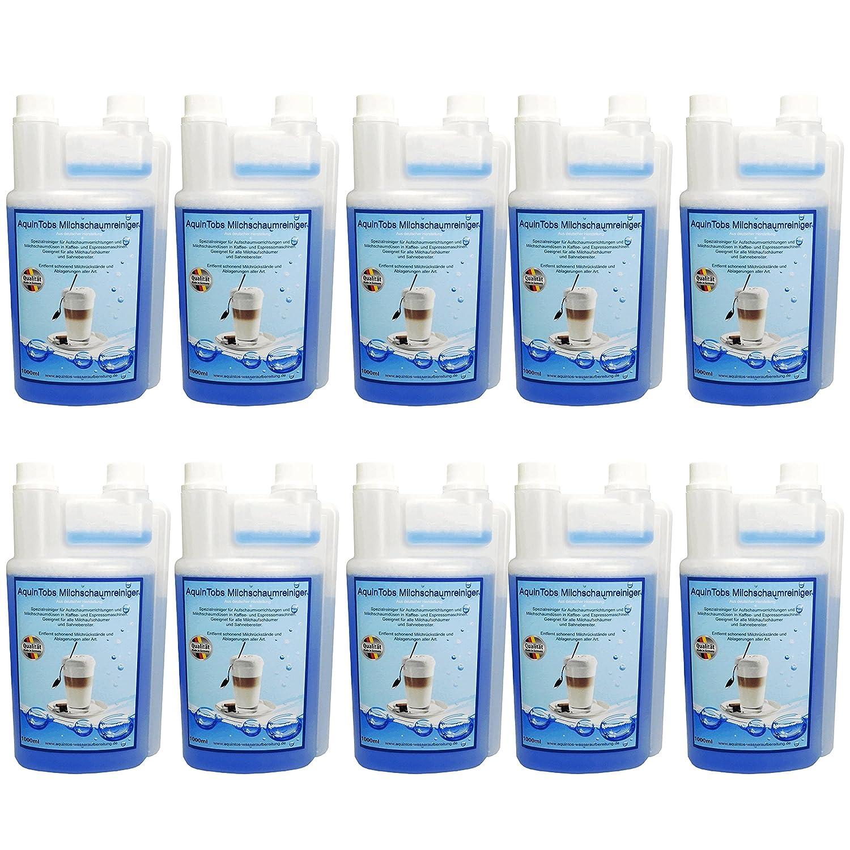 10er Pack AquinTobs Milchschaumreiniger AQ77002 - 1000ml - Spezialreiniger fü r Aufschaumvorrichtungen und Milchschaumdü sen in Kaffee- und Espressomaschien. Geeignet fü r alle Milchaufschä umer und Sahnebereiter.