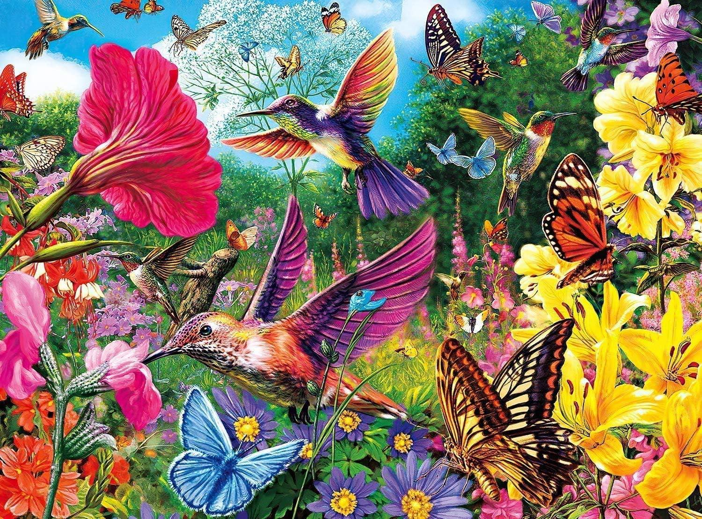 Jigsaw Puzzles 1000 Pieces, Beautiful Hummingbird Garden Landscape Puzzle 1000 Pieces Jigsaw Puzzle, Large Cute Animal Bird Puzzle
