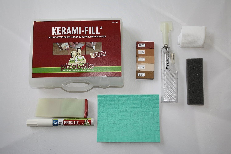 Fliesen reparieren  Reparatur-Set Kerami-Fill für die Instandsetzung von Schäden bei ...