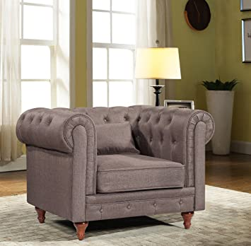 Oliver Smith - Roosevelt Collection - Classic Scroll Large Contemporary  Microfiber Mordern Sofa Chair Sofa Arm Chairs 15015 Brown