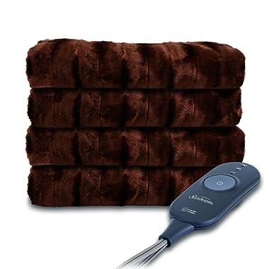 Sunbeam Heated Throw Blanket | Microplush, 3 Heat Settings, Walnut