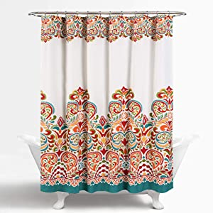 "Lush Decor Clara Shower Curtain - Fabric Colorful Boho Paisley Damask Print Design 72"" x 72"" Turquoise and Tangerine"