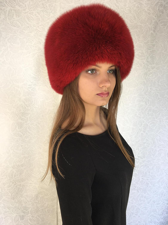 1d9a06ae Amazon.com: Blue Fox Fur Full Hat Round Fur Saga Furs Adjustable Dark Red:  Everything Else
