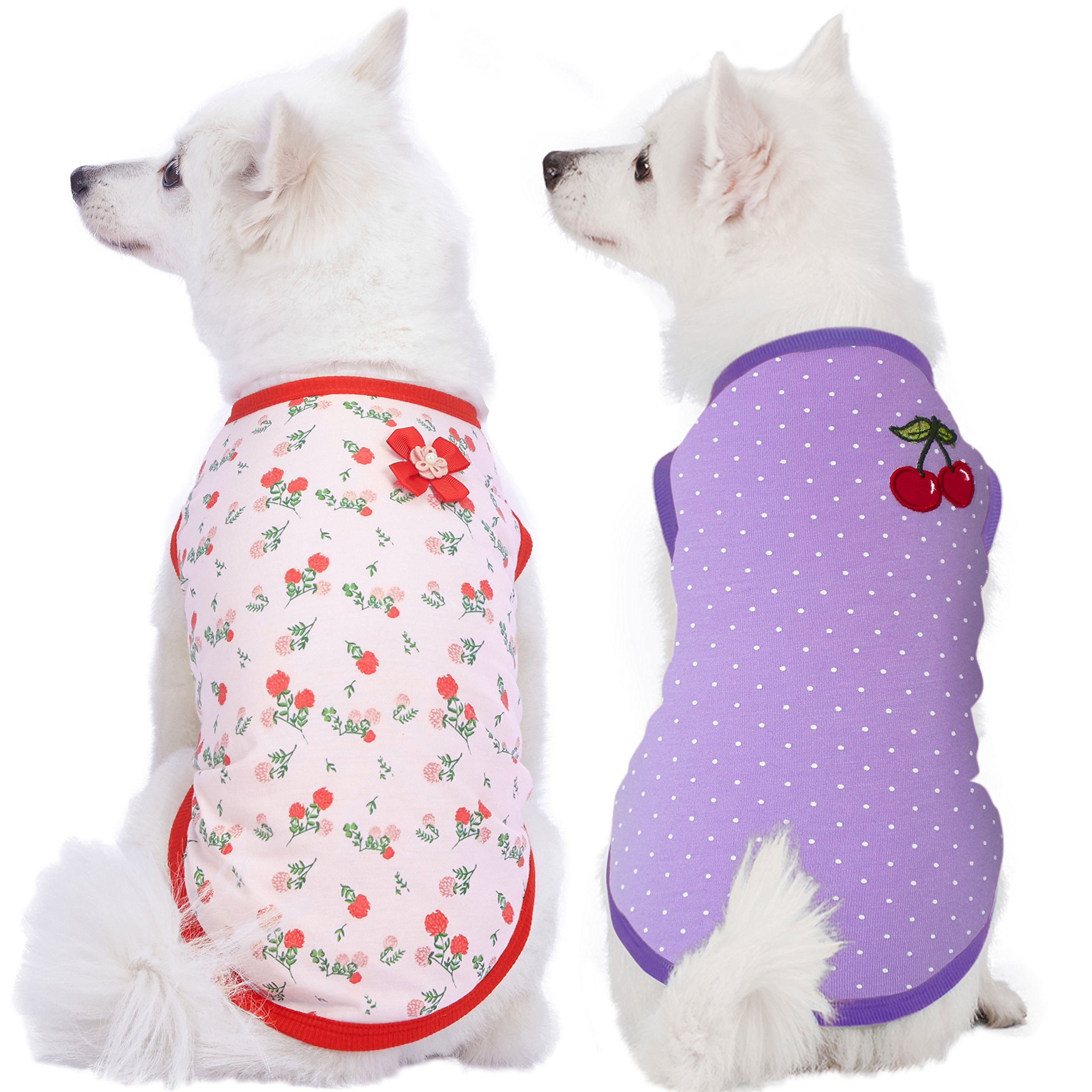 Blueberry Pet Pack of 2 Soft & Comfy Spring Hope Floral Cotton Blend Dog T Shirts Tank Top, Back Length 14'', Clothes for Dogs by Blueberry Pet