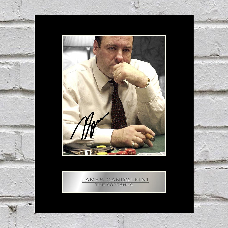 JAMES GANDOLFINI TONY SOPRANO THE SOPRANOS SIGNED AUTOGRAPH PHOTO PRINT IN MOUNT BY ATOMIC AUTOGRAPHS