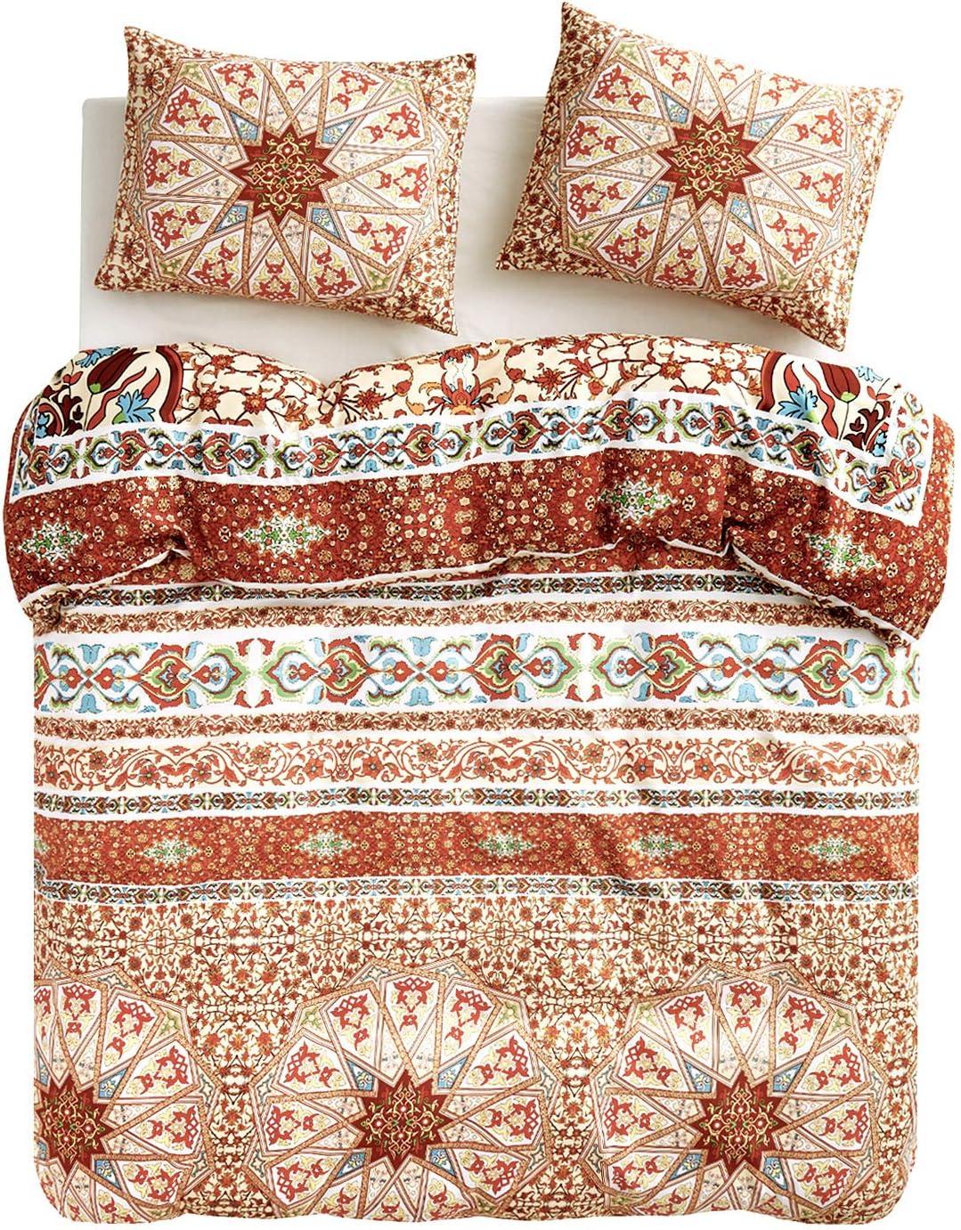Wake In Cloud - Bohemian Duvet Cover Set, Orange Chic Mandala Medallion Printed Soft Microfiber Bedding with Zipper Closure (3pcs, Queen Size)
