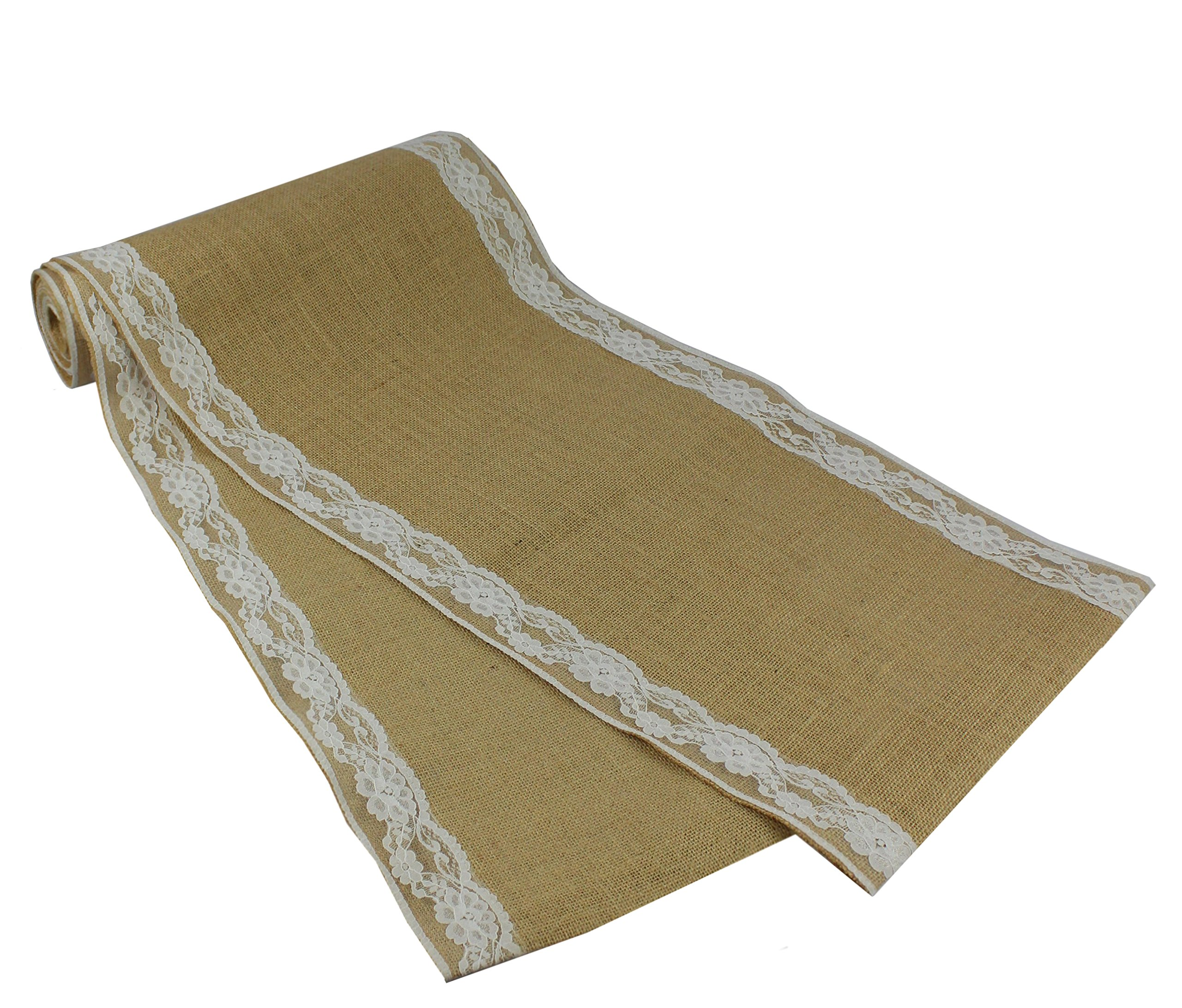 Cotton Craft - 2 Pack - Jute Burlap with Lace Table Runner 12x108 - Natural - Perfect Accessory to Dress up Your Dinner Table - Spot Clean Only