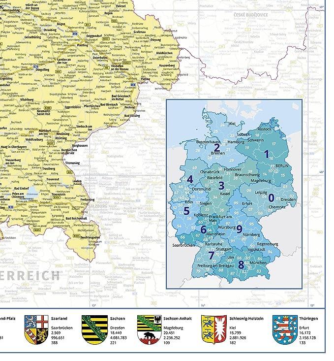 Close Up Politische Landkarte Deutschland 2018 Premium Poster- 1:660.000 transparente Posterleisten mit Aufh/ängung 2 St XXL Deutschlandkarte 100x140 cm