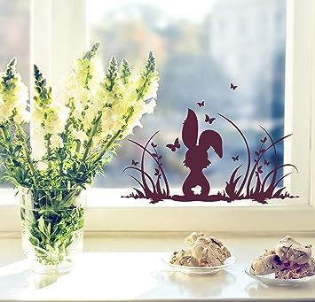 Amazon.de: Fensterbilder Fensterdeko Ostern Frühling Hase Häschen ...