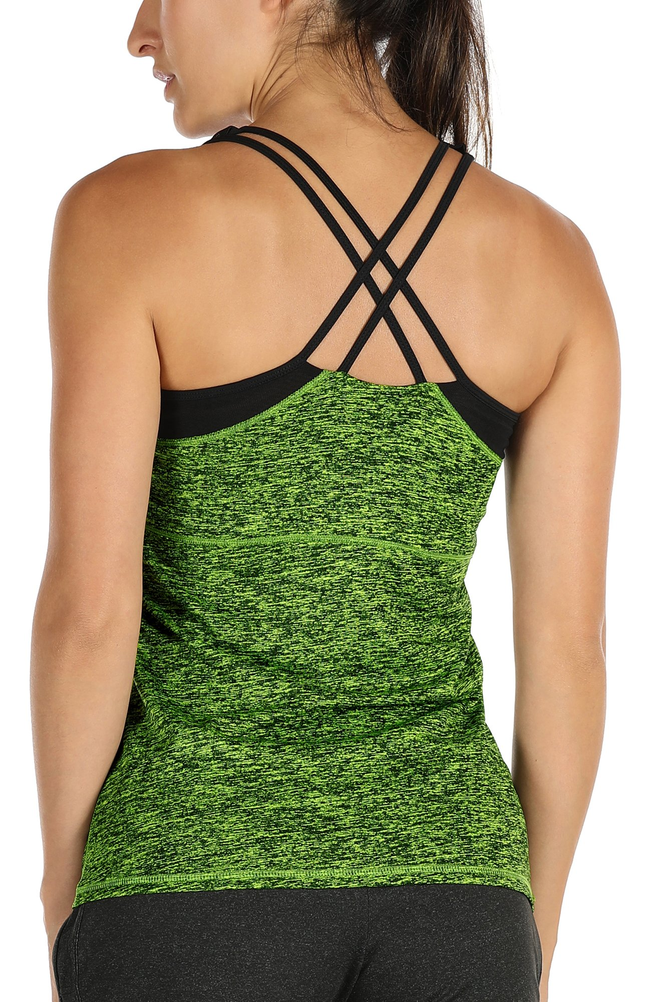 icyzone Women Workout Yoga Spaghetti Strap Racerback Tank Top with Built in Bra(M, Green)