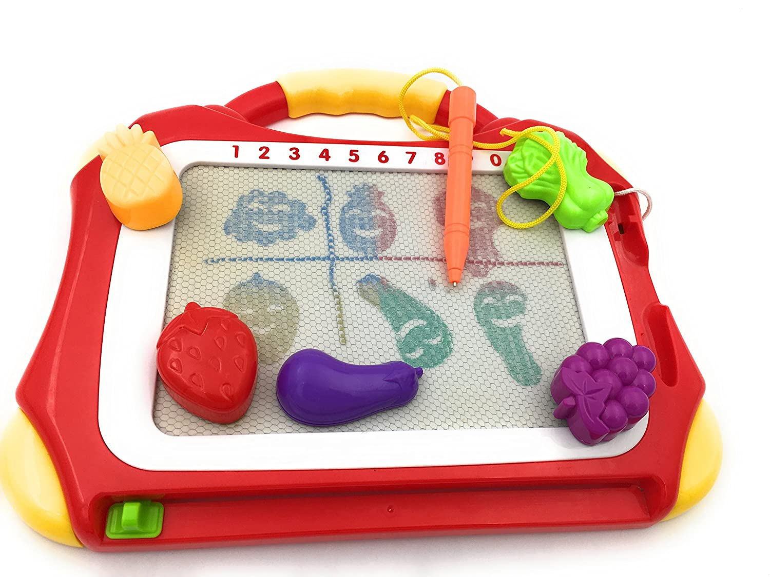 xcivi Fruit and Vegetables Stamps and Replacement Stylus for Magnetic Drawing Board Toy//Doodle Board for Kids