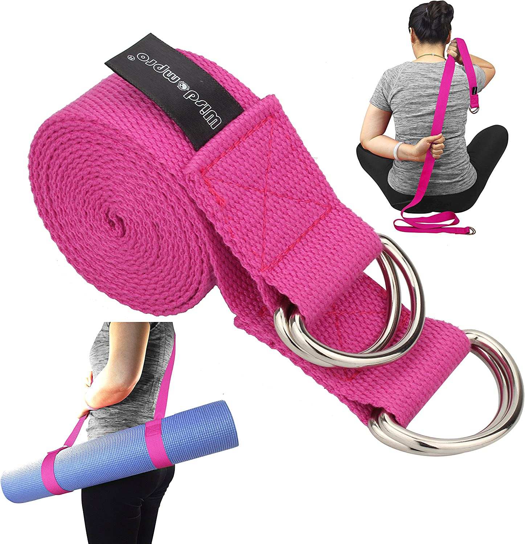 Wisdompro/® Yoga Cinghia per Stretching e Posa raddoppia Come Un Tappetino per Esercizi Yoga Carrier Sling con 4/Anelli D/ /a 2-in-1/Extra Value Combinazione
