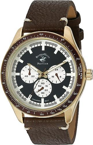 Amazon Com Us Beverly Hills Polo Club Metal De Cuarzo Reloj Casual De Los Hombres Color Café Modelo 53461 Watches