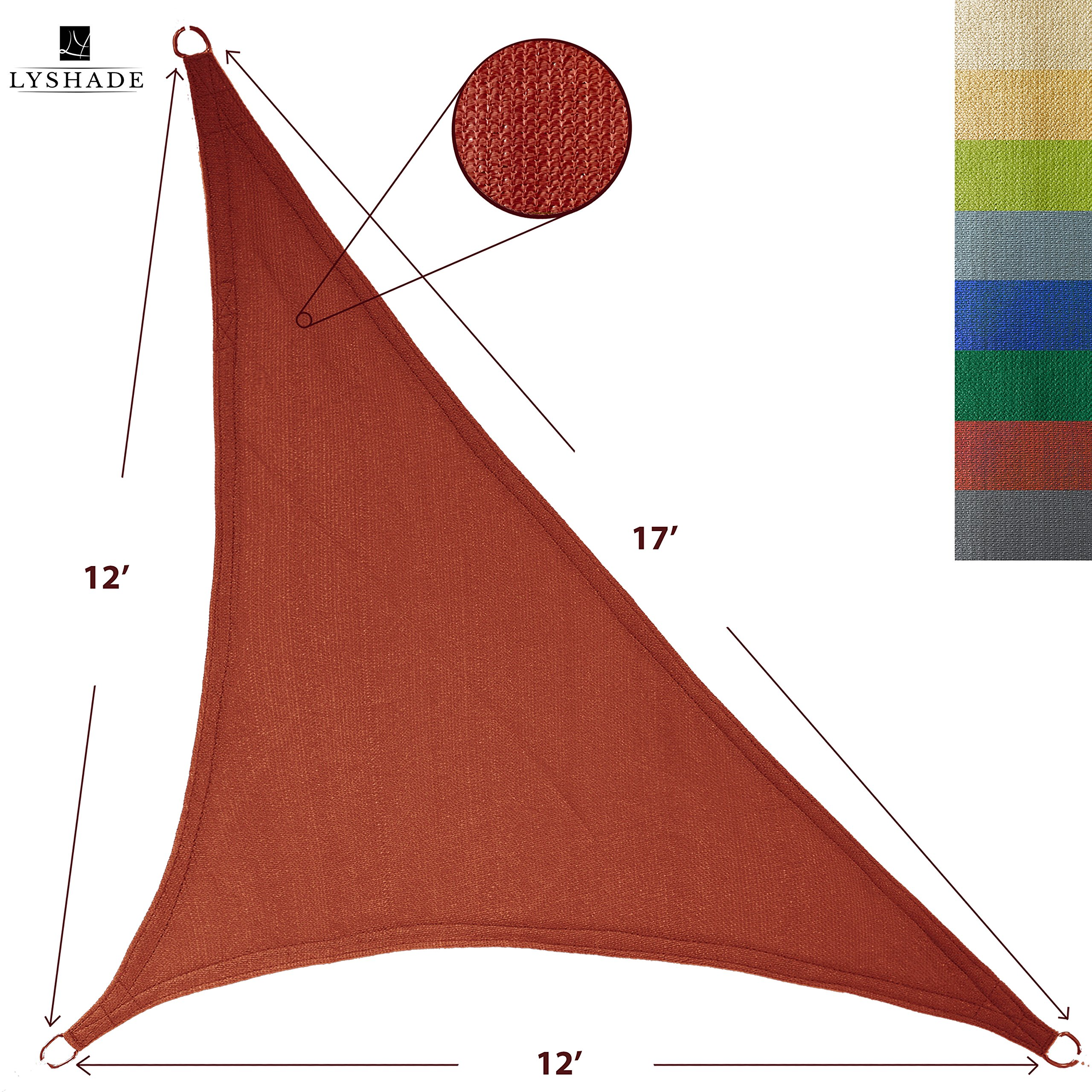 LyShade 12' x 12' x 17' Right Triangle Sun Shade Sail Canopy (Terracotta) - UV Block for Patio and Outdoor