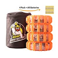 LED Road Flares and Storage Bag, Batteries Included already Installed | 9 Signal Modes + Flashlight | Magnetic base and hanging hook for mounting | Waterproof and extra bright for 1/4 mile visibility