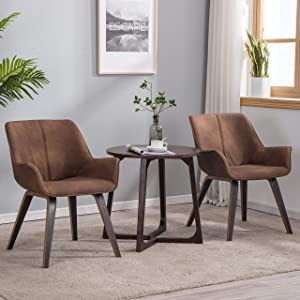 YEEFY Brown Leather Living Room Chairs with arms Leather Side Chairs Set of 2 (Brown)