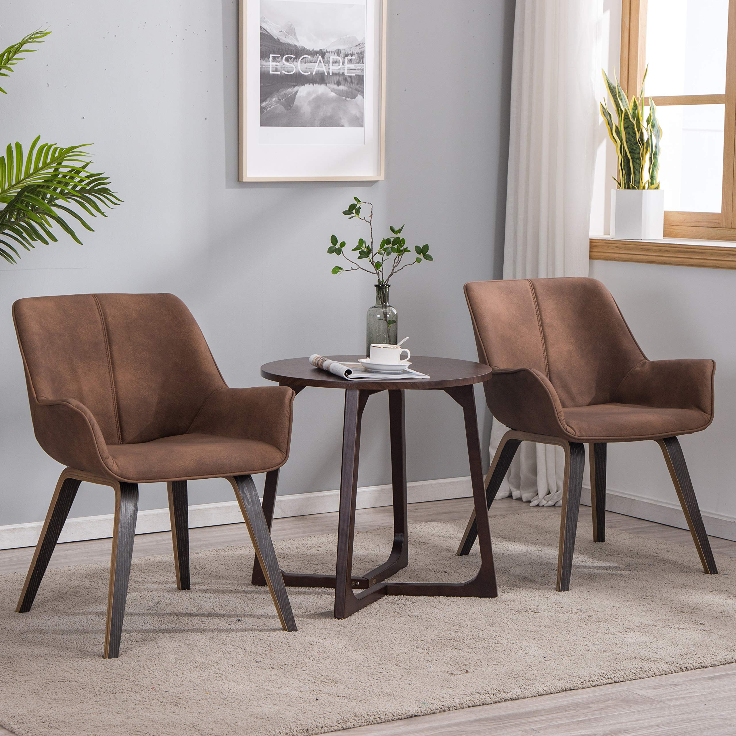 YEEFY Brown Leather Dining Chairs with arms Leather Side Chairs Set of 2 (Brown)