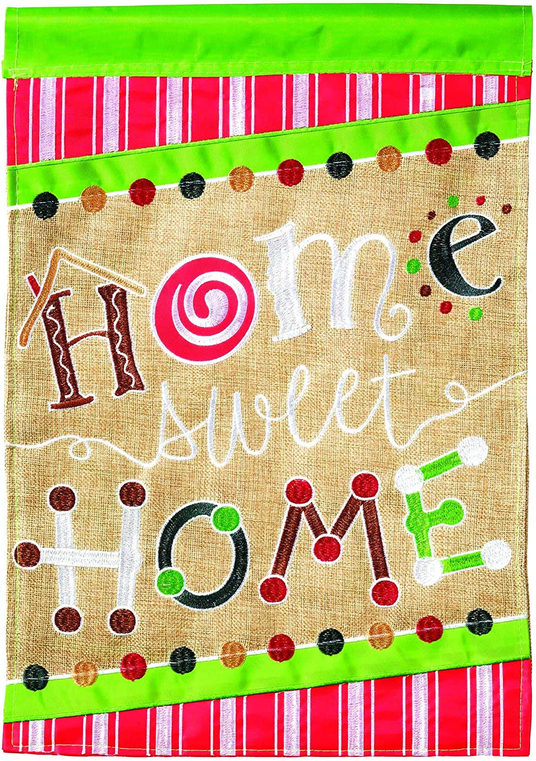 Magnolia Garden Home Sweet Home Green 13 x 18 Small Double Applique Outdoor Holiday House Flag