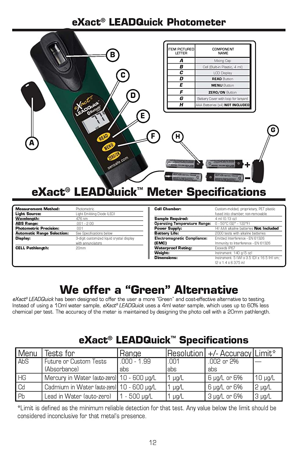 Industrial Test Systems 486900-BT-CD Leadquick W//BT Photometer Cadmium Water Test Kit