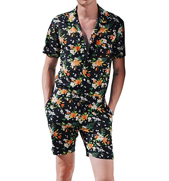 30434415493 Festiful Romper Men Male Black Floral Print Hawaiian Shirt Tropical Outfit  Romphim  Amazon.ca  Clothing   Accessories