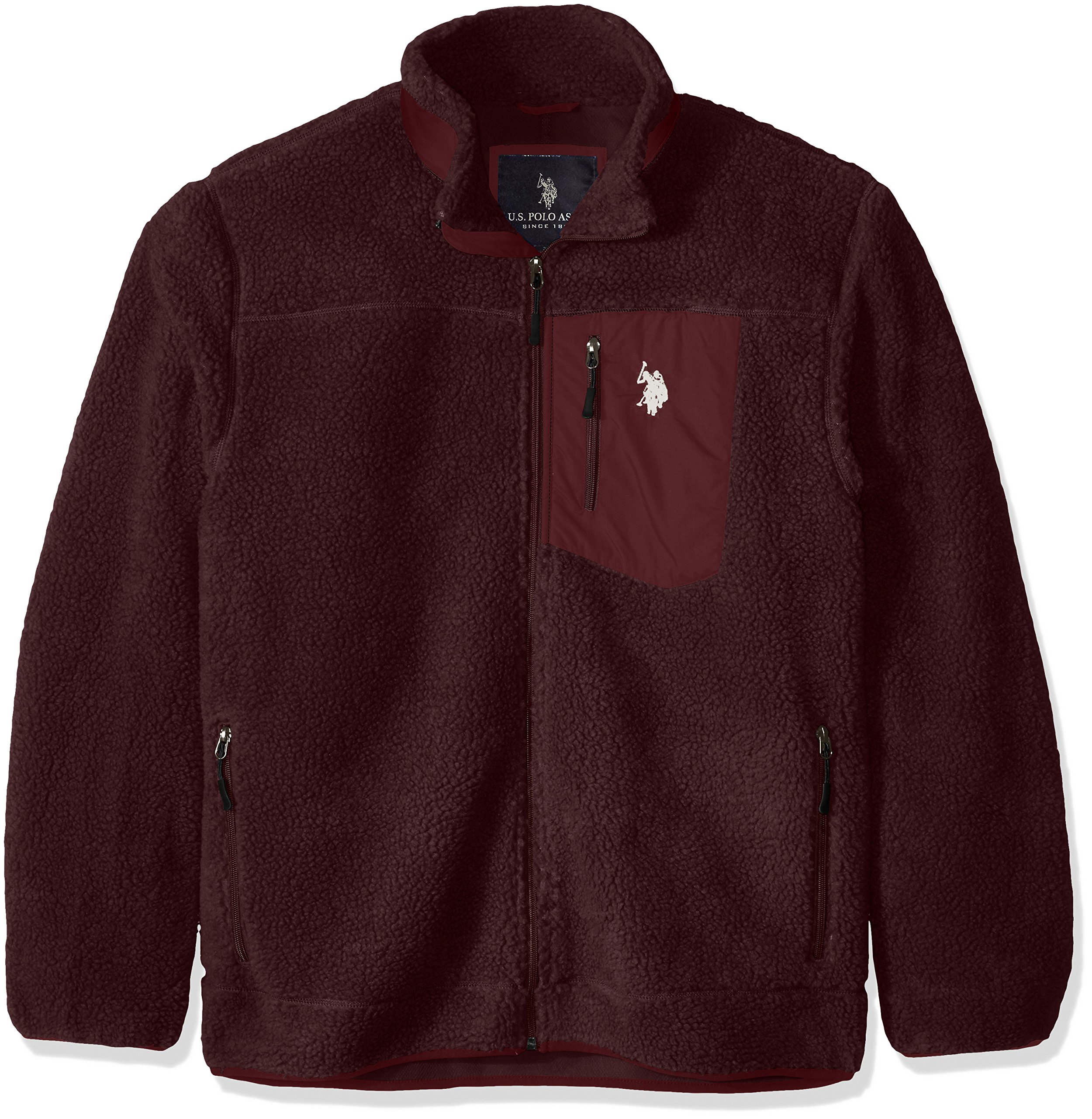 U.S. Polo Assn. Men's Faux Sherpa Jacket, East Burgundy, X-Large