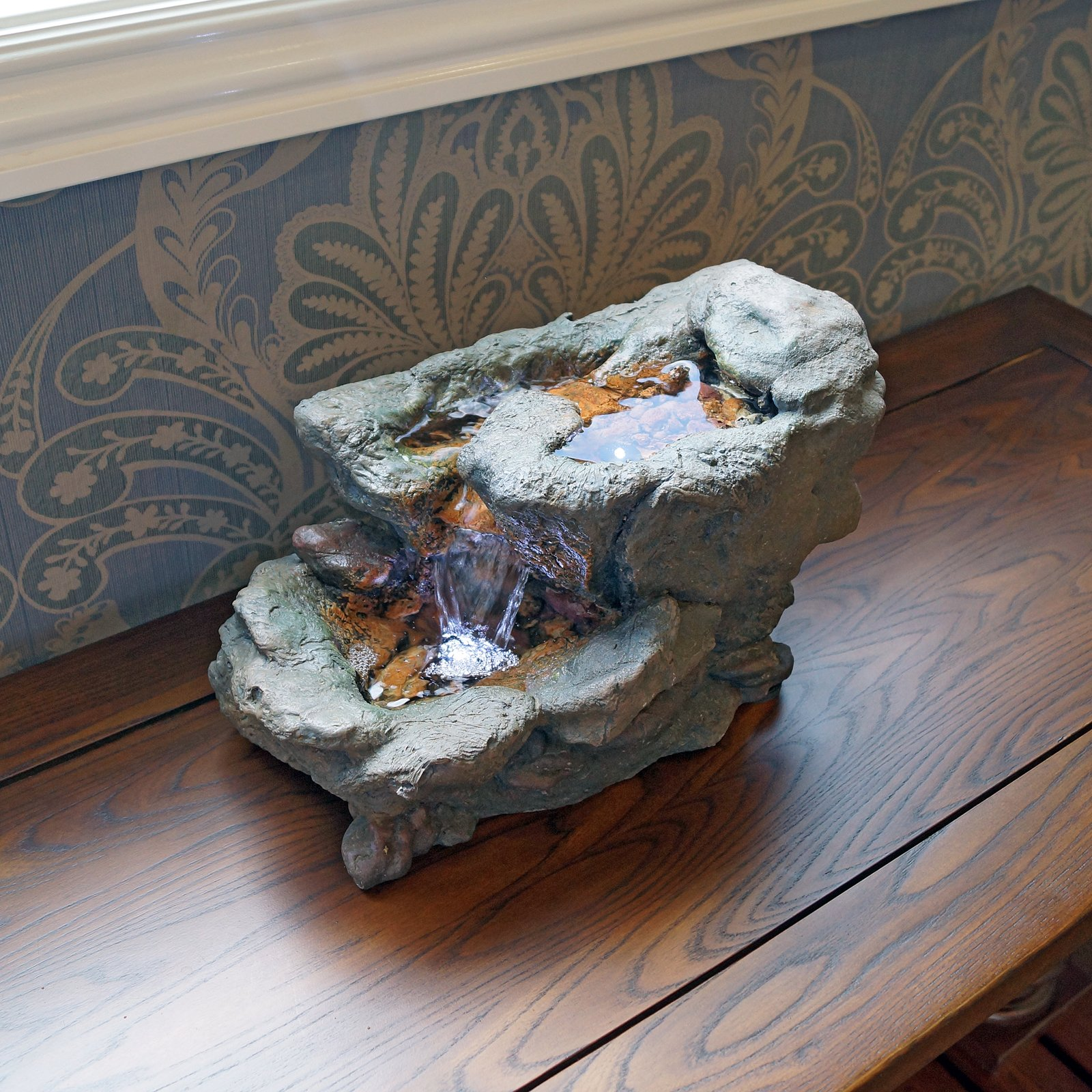 Welland 9 Inches Three Tier Natural Stone Finish Tabletop Fountain