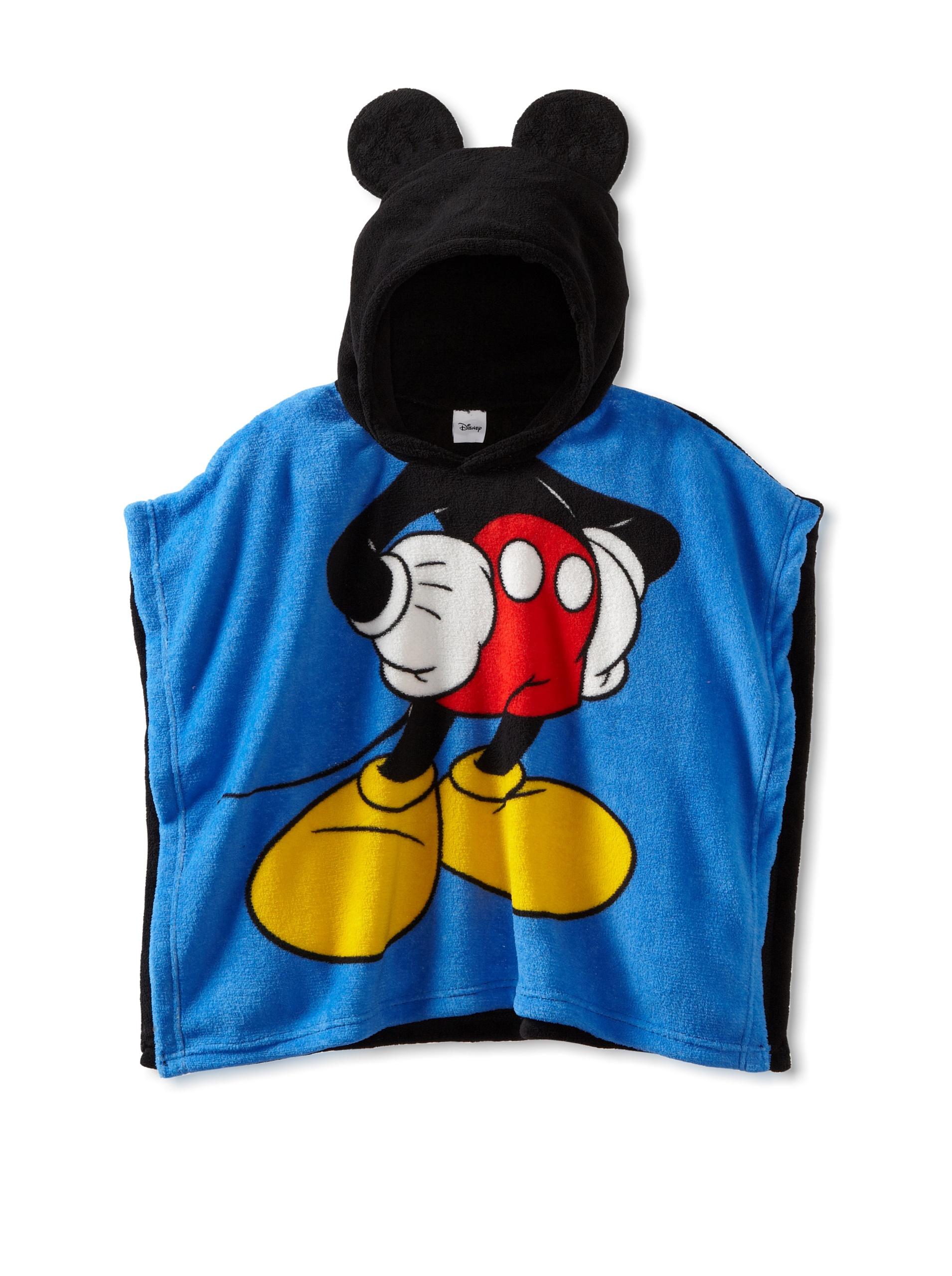 Disney ''Mickey Mouse'' Blue 21'' x 24'' Wrappie Hooded Fleece Blanket Poncho