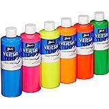 Sax 1440727 Versatemp Tempera Paint Set, 1 pint Plastic Bottles, Assorted Fluorescent Color (Pack of 6)