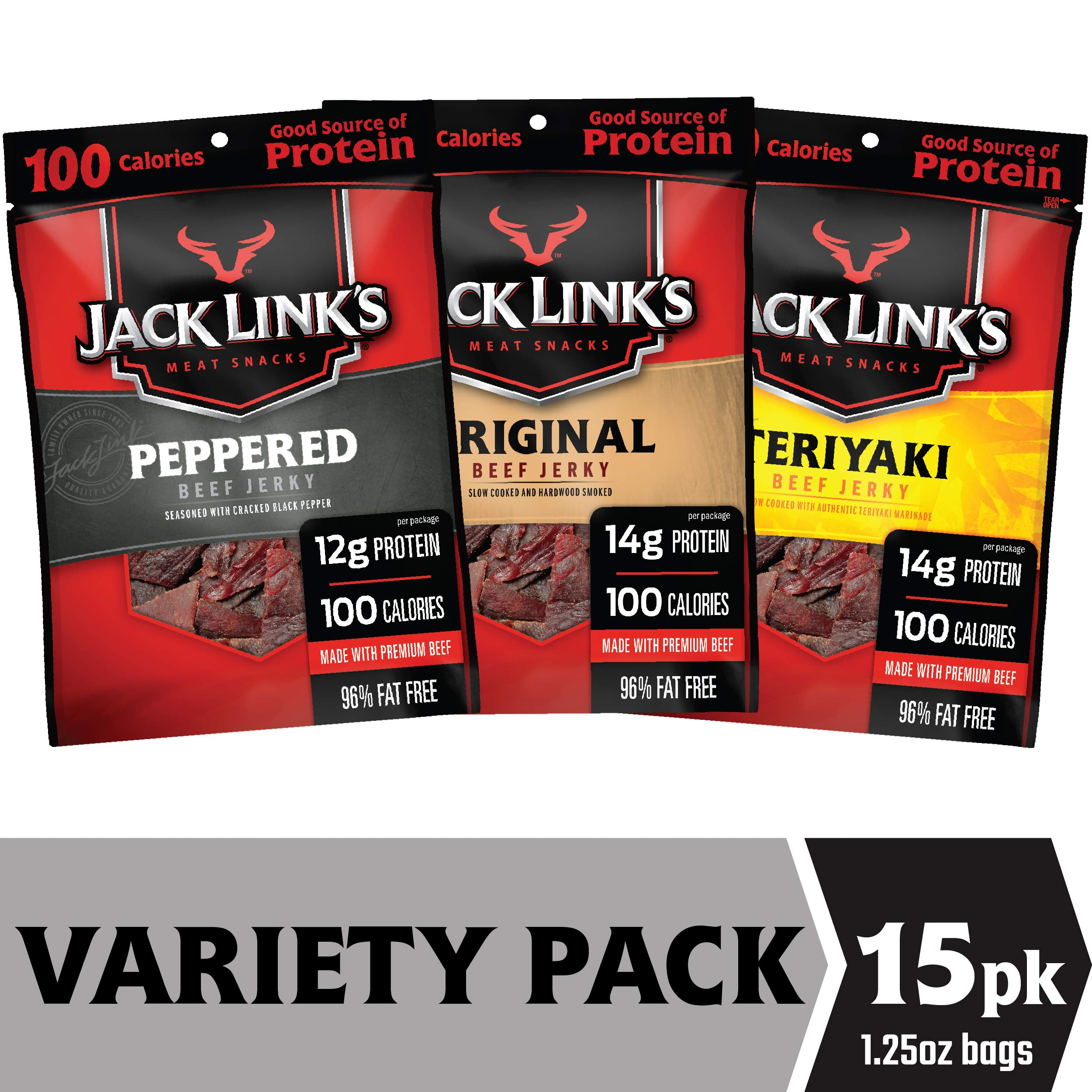 Jack Link's Beef Jerky Variety Pack, 15 (1.25 oz Bags) - Variety Pack Includes Original, Teriyaki and Peppered Beef Jerky, Great for Lunch Boxes, Good Source of Protein - 96% Fat Free, No Added MSG by Jack Links