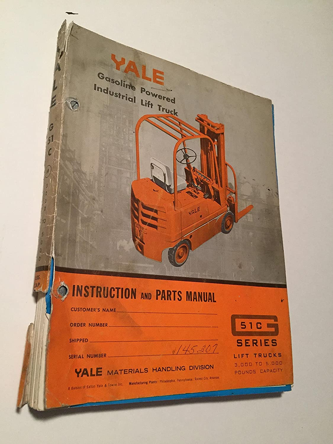 Vintage Yale G51c Gasoline Powered Lift Truck 3000 4000 5000 Pound Forklift Wiring Diagram On Telephone Box View Capacity Parts Manual 1963 030 040 050 Nfs Nrs Nft Nrt Industrial
