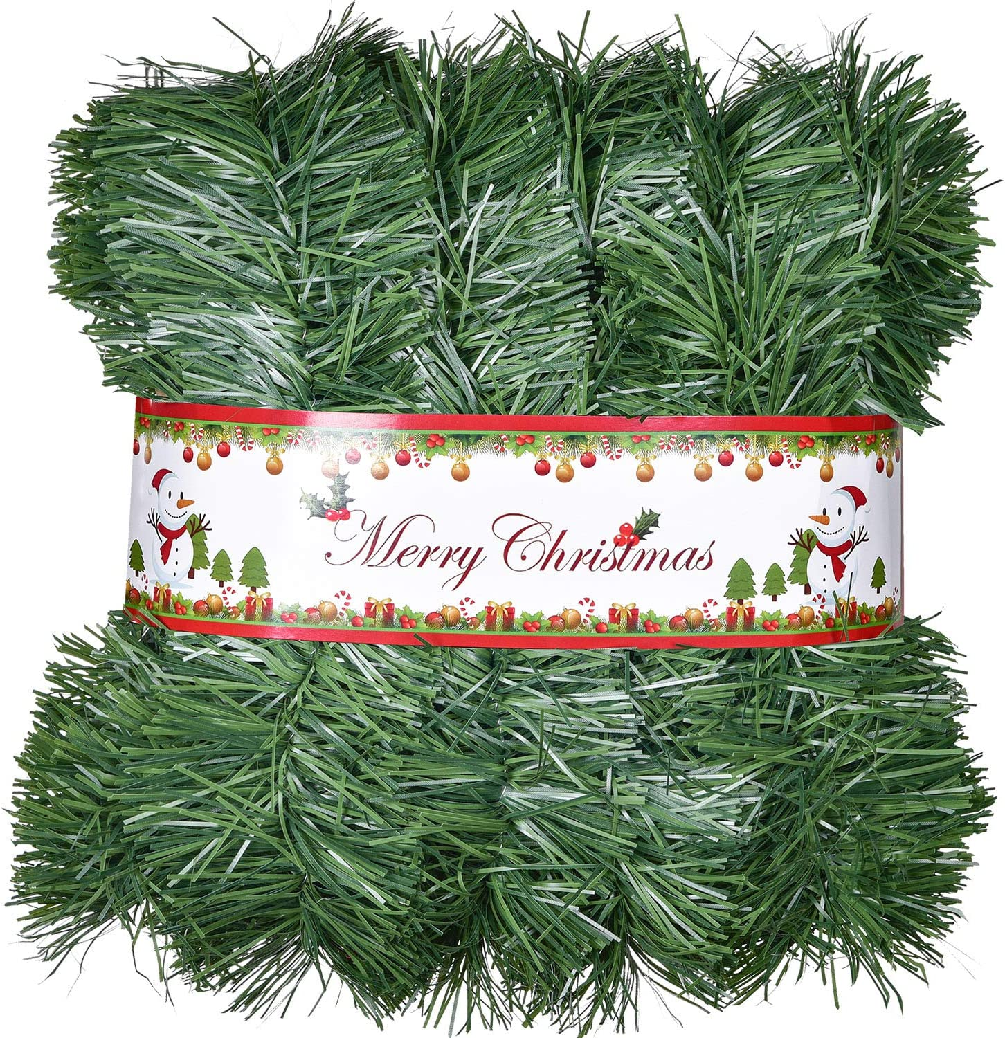 Artiflr 50 Ft Christmas Garland, Artificial Pine Garland Holiday Decor for Outdoor or Indoor Home Garden Artificial Green Greenery, or Fireplaces Holiday Party Decorations