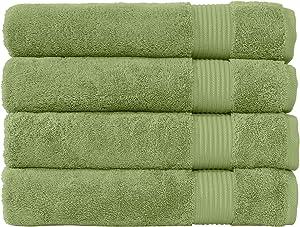 Classic Turkish Towels Premium 100% Turkish Cotton Towels - Plush and Thick 4 Piece Bath Towel Set (Greenery)