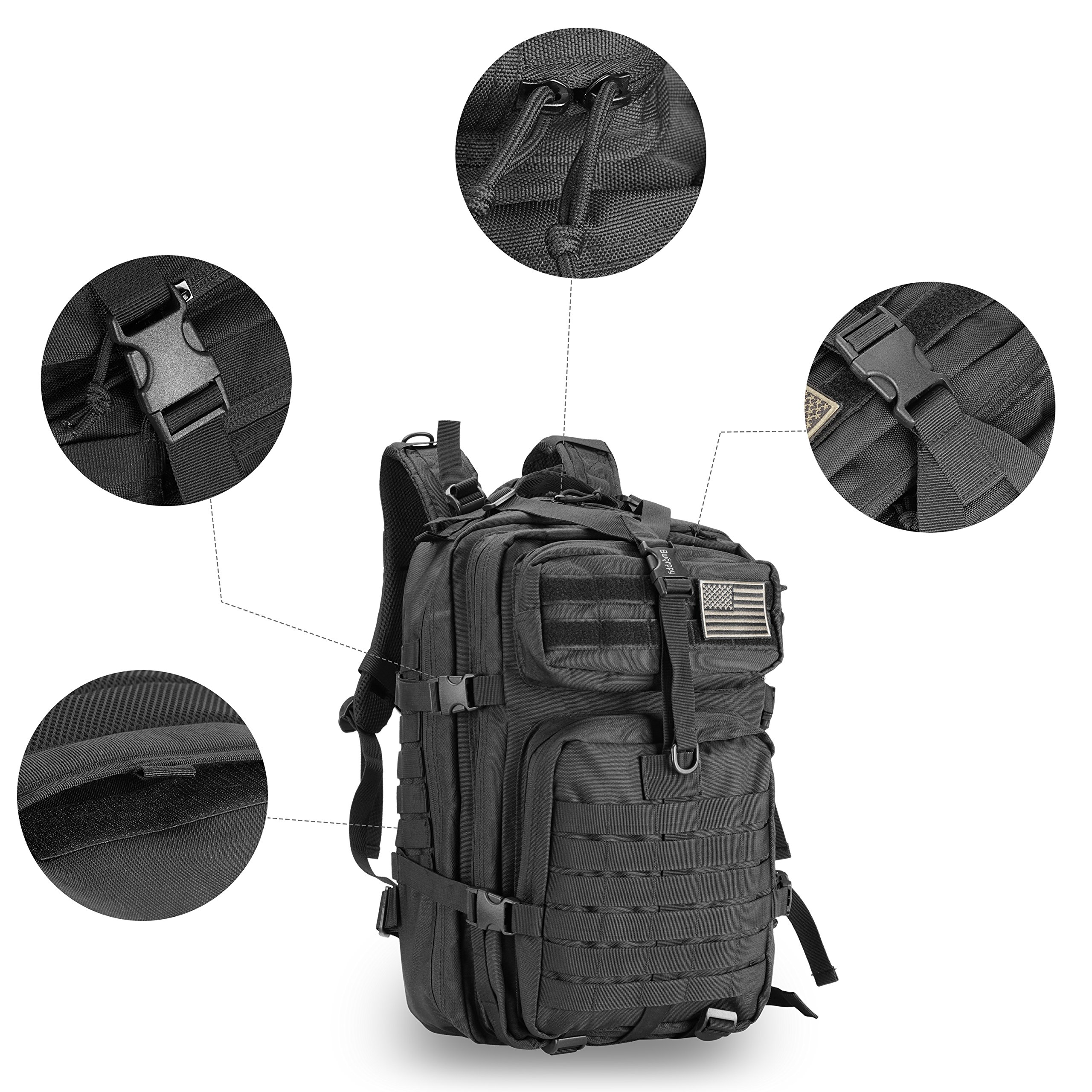 Bworppy Military Tactical Backpack, 40L Outdoor Rucksack, Waterproof 900D Oxford Fabric Assault Pack for Outdoor Hiking Camping Trekking Hunting by Bworppy (Image #4)