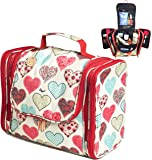 Palcovi Hearts Large Capacity Hanging Toiletry Bag Premium Large Travel Essentials Organizer - Dopp Kit - Durable Metal Hook - Perfect for Full-Sized Toiletries. Pattern: Hearts