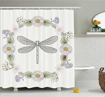 Amazon Com Ambesonne Dragonfly Shower Curtain Vintage Retro Farm Rh